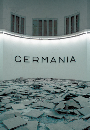 Hans Haacke, Germania, 1993, exhibition view from the Venice Biennale. Courtesy of Hans Haacke and Paula Cooper Gallery, New York. Photo: Roman Mensing.