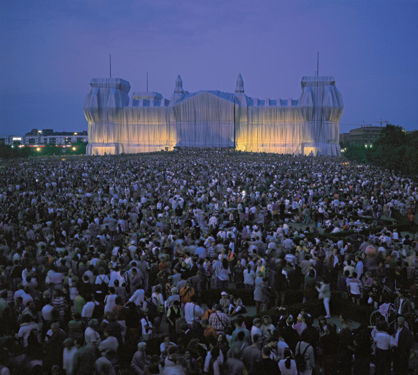 Christo and Jeanne-Claude, Wrapped Reichstag, 1971-95. Berlin, Germany. © Christo 1995. Photo: Wolfgang Volz.