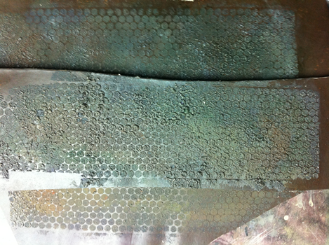 Dye Dept studio snapshot, Corroding Armour Creation, 2014. Vegitan leather, silk screen, texture medium, speciality acrylic paints.