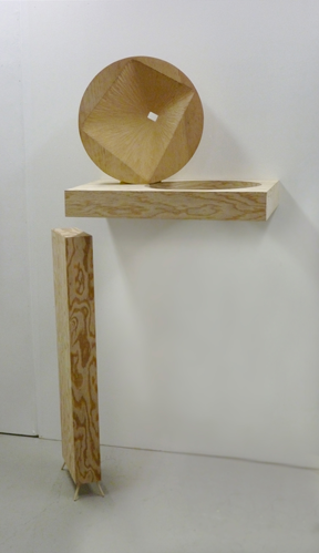 "Apropos, 2012, Plywood, wood, paint. 64""x26""x-20"""