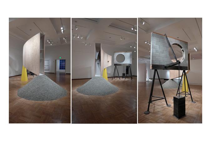 "Setting a Corner, 2013, Plywood, wood, steel, paint, gravel. 148""x220""x200"""