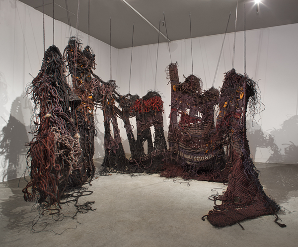 For Lethe, 2014, Hand-dyed sisal, rusted steel. 10' x 8' x 4'