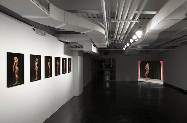 "Bodybuilder Studies (IFBB/NY Metropolitan Competition)"", 2010, photo series, & ""Bodybuilder Studies (Ms Olympia Competition)"", 2014, video installation (as installed at CEPA Gallery, 2015)"