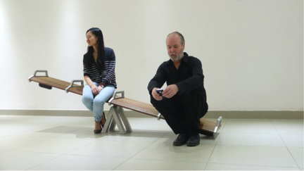 Koh, Germaine. SeeSawSeat prototype, 2011, aluminum and ipe wood structure. Image courtesy of the artist