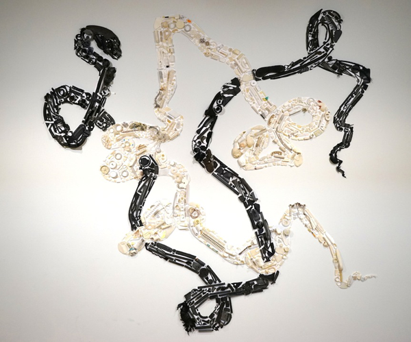 Newer Laocoon (voice of warning)  2015, vagrant ocean plastic from Greece, California, Alaska, Hawaii, and Costa Rica