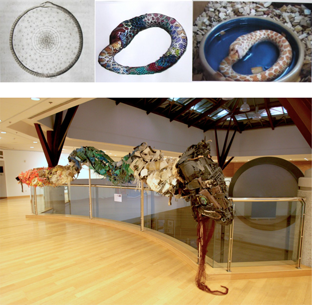 Post-Ouroboros (death by plastic) - 2014-2015, vagrant ocean plastic from Kefalonia, steel wire and mesh constructed by Pam Longobardi, Susan Knippenberg, Lauren Peterson, Krista Clark, Tori Tinsley, and Wesley Terpstra.