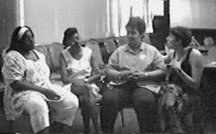 Marcia, Glenda, Juanita and Alex. Still from WE CARE: A Video for Care Providers of People Affected by AIDS, Women's AIDS Video Enterprise, 1990. Courtesy the collective.