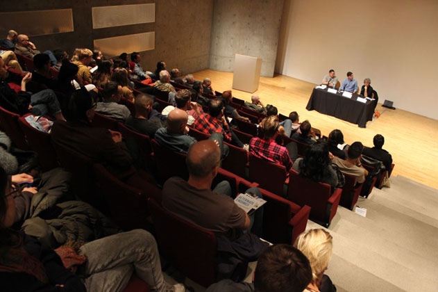 Panel and audience, MOCA discussion, Alternate endings, 2014.