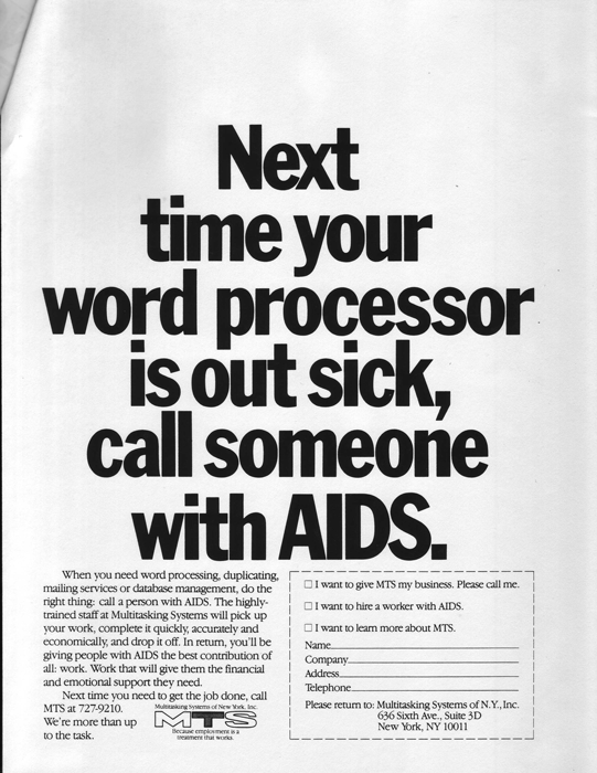 Advertisement for MTS Systems, ca. late 1980s/early 1990s. Image Courtesy The John J. Wilcox Jr. LGBT Archives at the William Way Community Center.