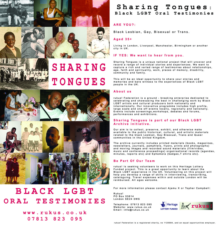 Sharing Tongues Flyer (front and back matter), 2008.