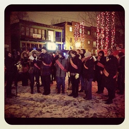 Sashes Action SéroSyndicat Fear Drag performance and vigil documentation Jordan Arseneault 2012