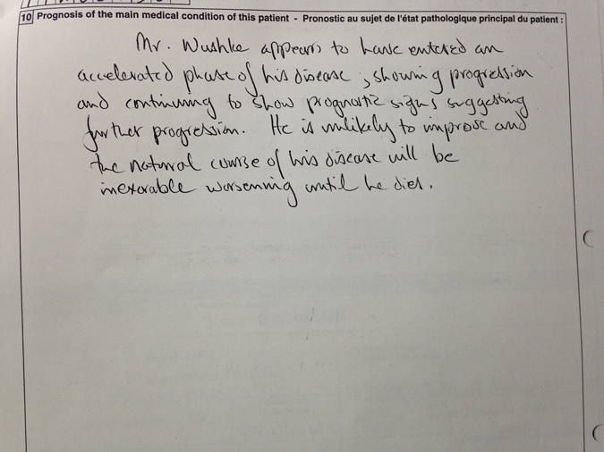 Dr. Williams's hand written prognosis of Ralph Wushke for the Canada Pension Plan, Medical Report, 18 July 1995.