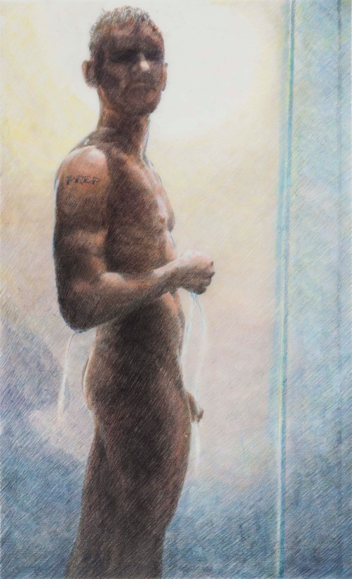 Stephen Andrews, (PREP), 2014, Watercolour pencil crayon on Mylar. Series for CATIE (Canadian Aids treatment information exchange)