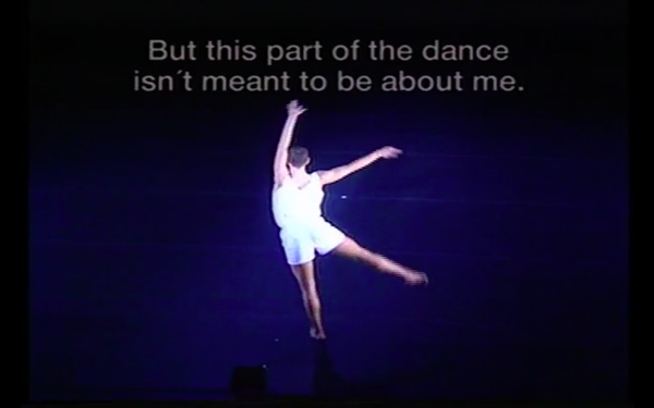Screenshot from recording of Not-About-AIDS Dance, 1994. Image courtesy of Neil Greenberg and the Jerome Robbins Archive of the Recorded Moving Image of the Dance Collection of the NYPL.