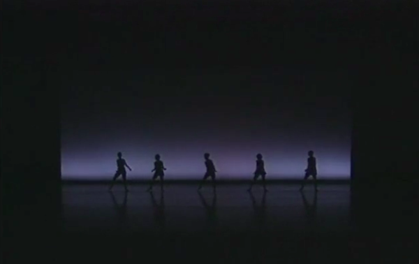 Screenshot from recording of The Disco Project, 1995. Image courtesy of Neil Greenberg and the Jerome Robbins Archive of the Recorded Moving Image of the Dance Collection of the NYPL.