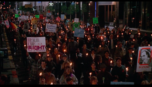 Irwin Winkler, The Net (still depicting Angela Bennett disappearing into an ACT UP protest, taking place outside a tech conference), 1995. This scene was shot at the 1995 MacWorld convention in San Francisco.