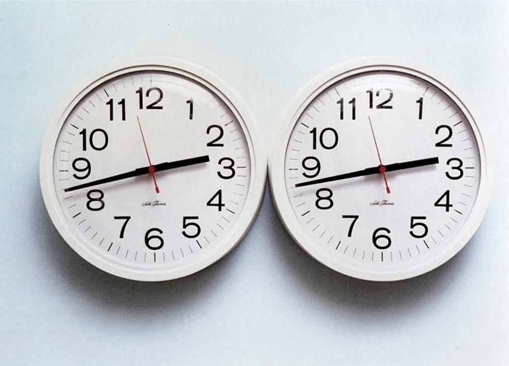 Félix González-Torres, Untitled (Perfect Lovers), 1991, Wall clocks and paint on wall. © The Felix Gonzalez-Torres Foundation. Courtesy Andrea Rosen Gallery, New York.
