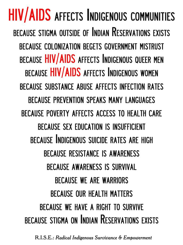 Demian DinéYazhi'/R.I.S.E.: Radical Indigenous Survivance & Empowerment, HIV/AIDS Affects Indigenous Communities, 2014, 11 x 17 inch poster. Image courtesy of the artist.