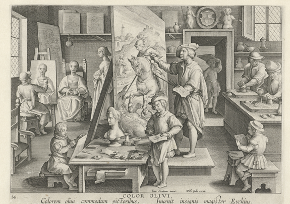 Figure 1. Jan van der Straet, La Bottega del Pittore, c. 1593-8. Engraving by Philps Galle, paper, 19.5 x 27 cm. Rijksmuseum, Amsterdam.