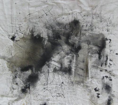 Les eaux renversées: de la beauté de l'inutile / Spilt Waters: Aesthetics of the Useless, 2013, Ink, acrylic on unprimed canvas, 91 x 71 cm. Courtesy the artist.