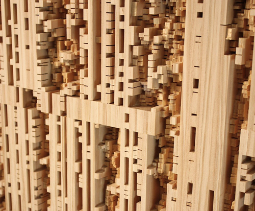 Procession 23 (detail), 2011, Pine wood, 60 x 20 inches. Courtesy the artist.