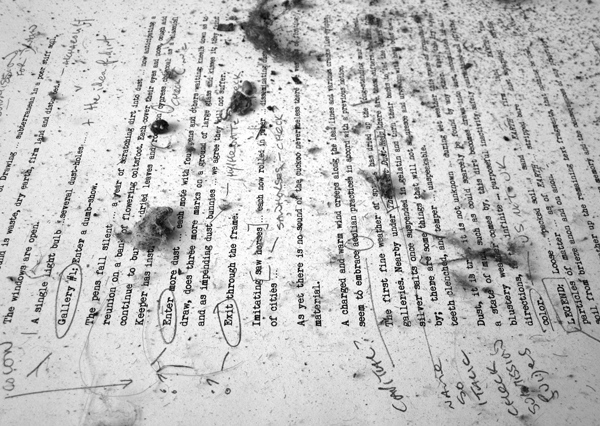 Phil Sawdon, First Draft, 2016, Detail, text, paper and dust. Image courtesy of the artist.