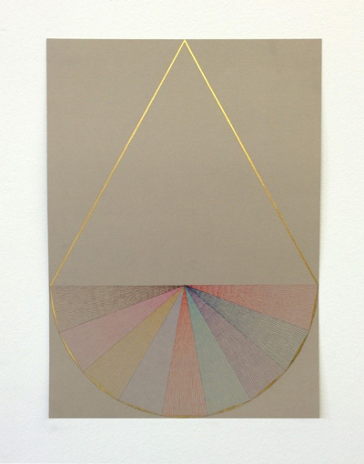 Untitled, 2014, Gold leaf, Color pencil on color paper, 18 x 13 inches. Courtesy Marianne Boesky Gallery, New York.