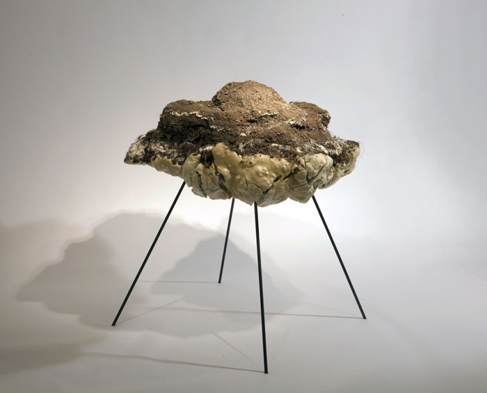 "Adrian Göllner, An explosion 1/1,000,000th the power of the first atomic bomb, 2016, resin, dirt and steel, 41 x 46 x 46"". Image courtesy of the artist."
